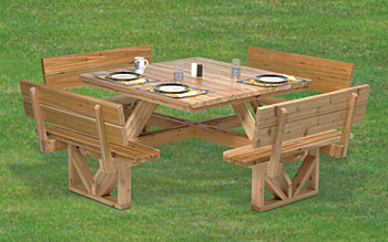 square wood picnic table plans